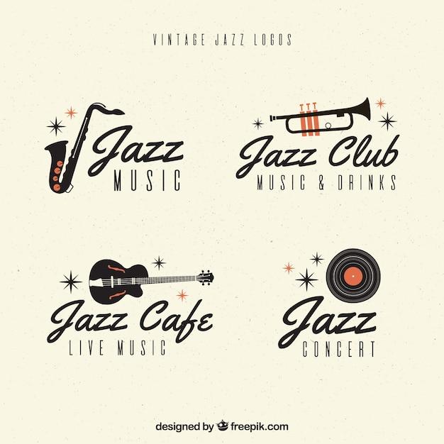 Collection de logo jazz avec style vintage Vecteur gratuit