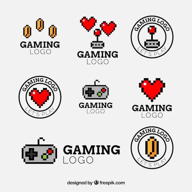 Collection de logo de jeu avec un design plat Vecteur gratuit