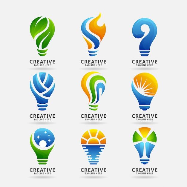 Collection De Logo De Lampe Créative Vecteur Premium