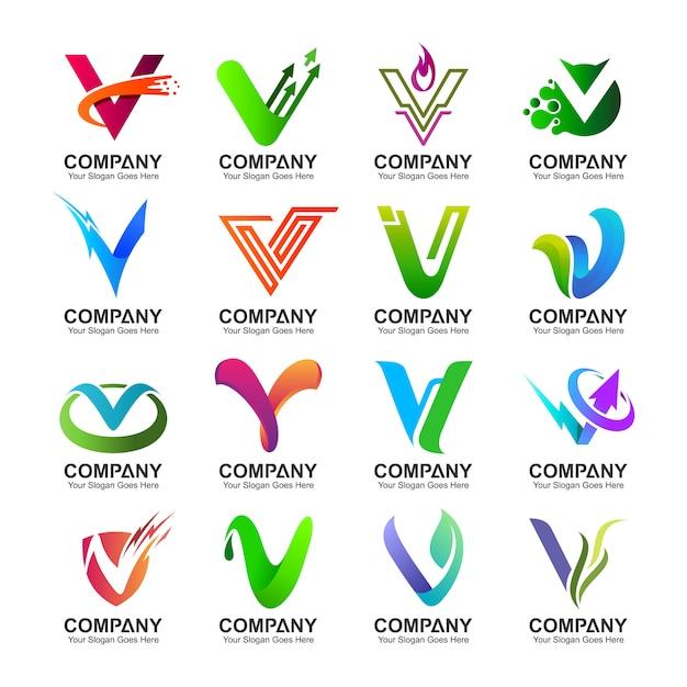 Collection de logo lettre v en variations variées Vecteur Premium