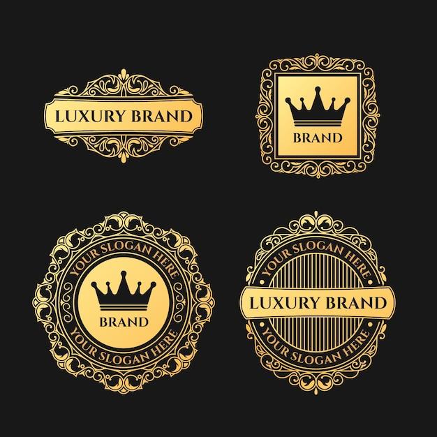 Collection De Logo De Luxe Rétro Vecteur gratuit