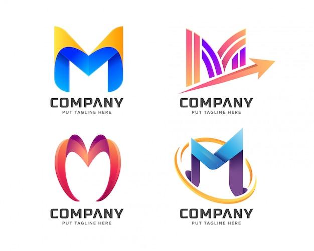 Collection De Logo M Lettre Initiale Colorée Vecteur Premium