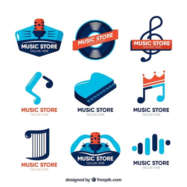 Collection de logo de magasin de musique avec un design plat Vecteur gratuit