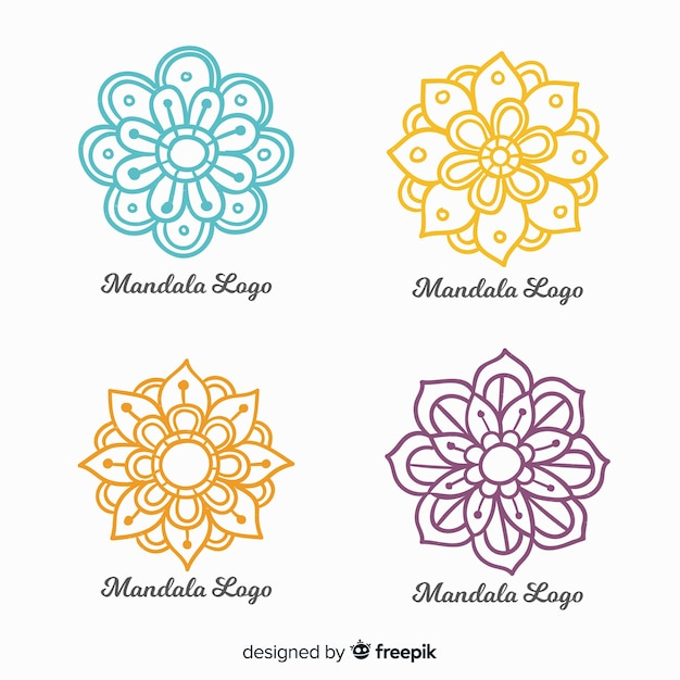 Collection de logo mandala dessiné à la main Vecteur gratuit