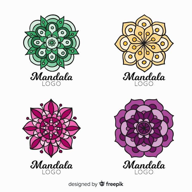 Collection de logo mandala dessiné à la main Vecteur gratuit