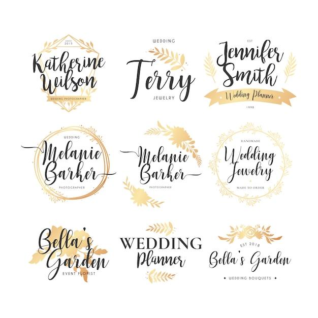 Collection de logo de mariage Vecteur gratuit
