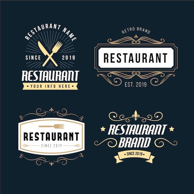 Collection de logo de marque restaurant rétro Vecteur gratuit