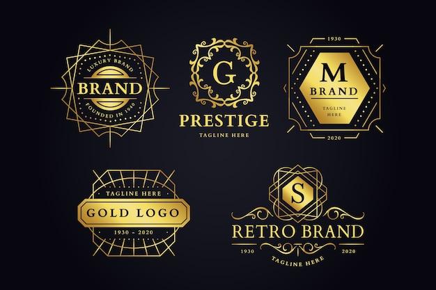 Collection De Logo De Marque Rétro Luxueux Vecteur gratuit