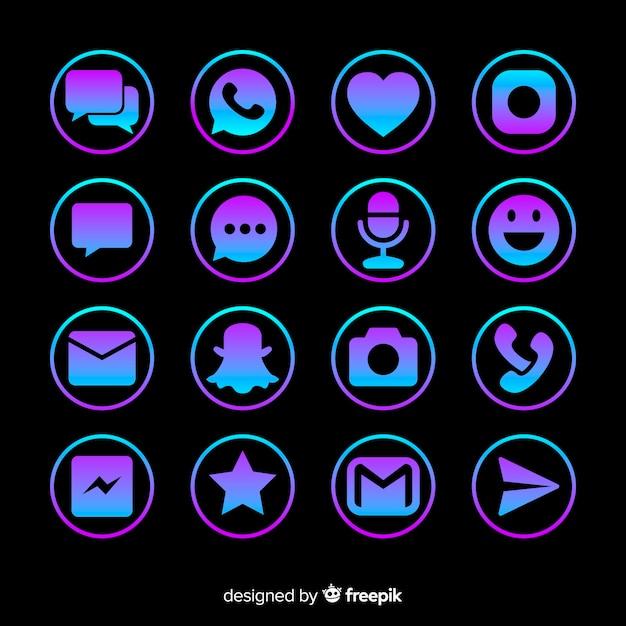 Collection de logo de médias sociaux Vecteur gratuit