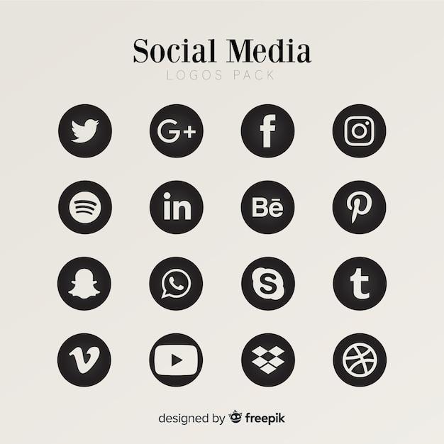 Collection De Logo De Médias Sociaux Vecteur Premium