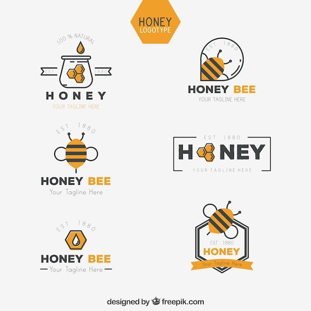 Collection de logo de miel en design plat Vecteur gratuit