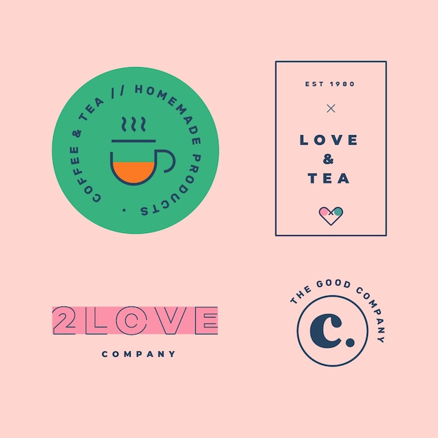 Collection De Logo Minimal Coloré Dans Un Style Rétro Vecteur gratuit