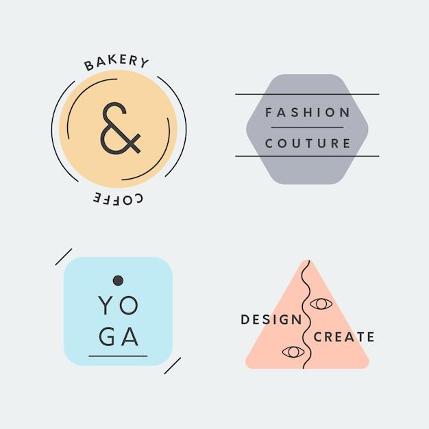 Collection de logo minimal avec des couleurs pastel Vecteur gratuit