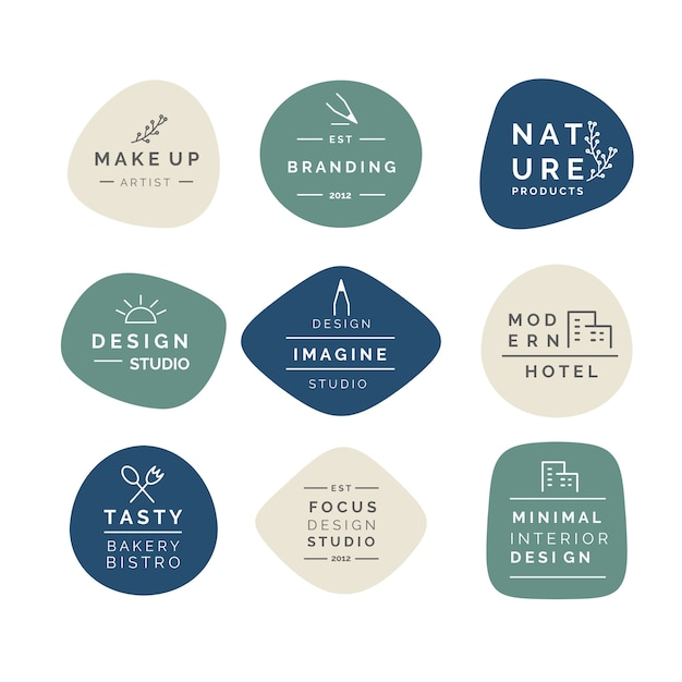 Collection De Logo Minimal De Couleurs Pastel Vecteur Premium