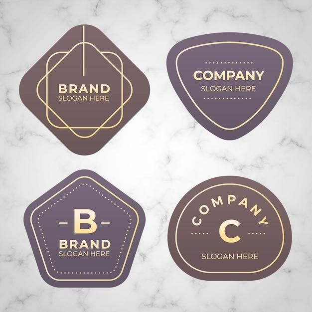 Collection de logo minimal sur fond de marbre Vecteur gratuit