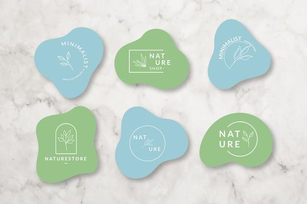 Collection de logo minimale sur fond de marbre Vecteur gratuit