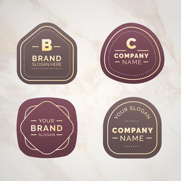 Collection De Logo Sur Modèle De Fond En Marbre Vecteur gratuit