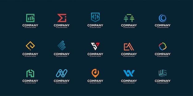 Collection De Logo Molécule Et Nuage Avec Initiale à L'intérieur Vecteur Premium