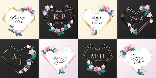 Collection De Logo De Monogramme De Mariage. Cadre Coeur Décoré De Fleurs Dans Un Style Aquarelle Pour La Conception De Cartes D'invitation. Vecteur gratuit