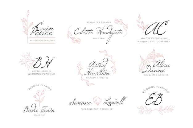 Collection De Logo De Monogramme De Mariage Vecteur gratuit