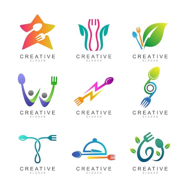 Collection de logo de nourriture et de restaurant Vecteur Premium