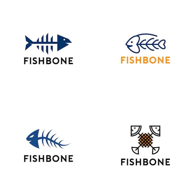 Collection de logo en os de poisson Vecteur Premium