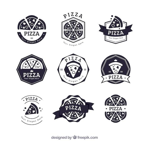 Collection De Logo De Pizza Noir Et Blanc Vecteur Premium