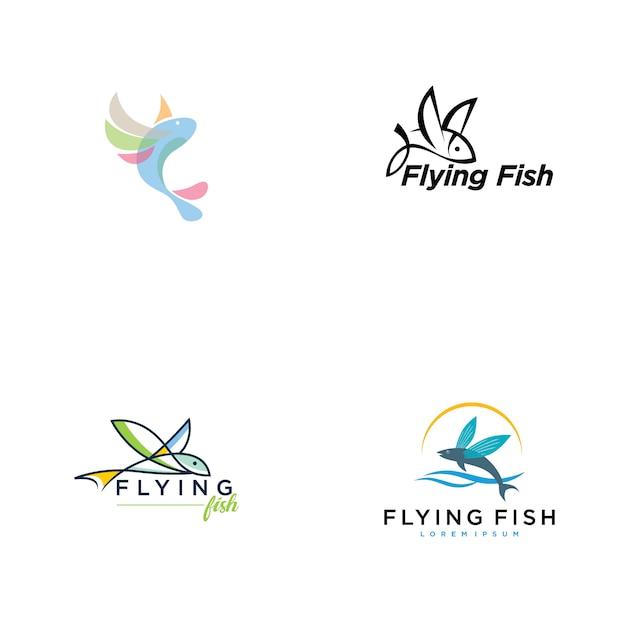 Collection De Logo De Poisson Volant Vecteur Premium
