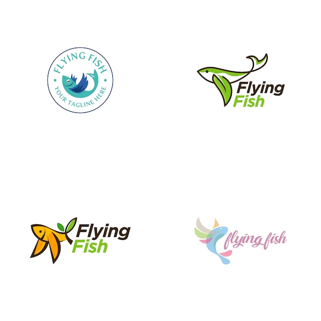 Collection De Logo De Poisson Volant Vecteur Premium