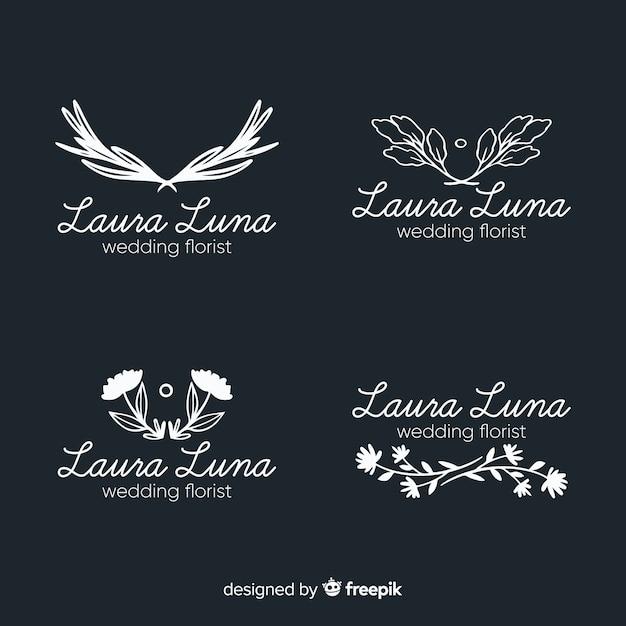 Collection de logo pour fleuriste de mariage Vecteur gratuit