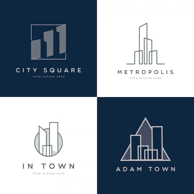 Collection de logo de propriété simple et moderne Vecteur Premium