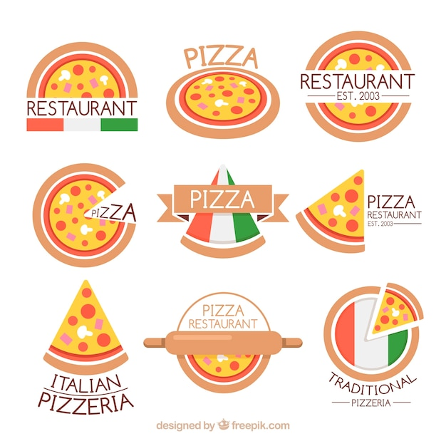 Collection De Logo De Restaurant Italien Vecteur Premium