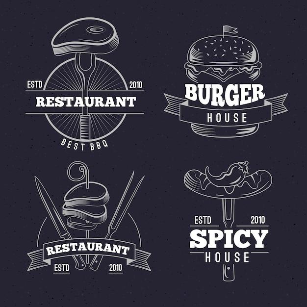 Collection De Logo Restaurant Rétro Vecteur gratuit