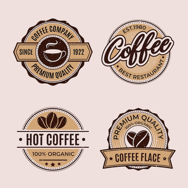 Collection De Logo Rétro Café Vecteur gratuit