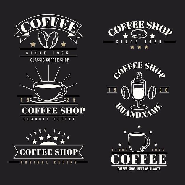 Collection de logo rétro coffee shop Vecteur gratuit