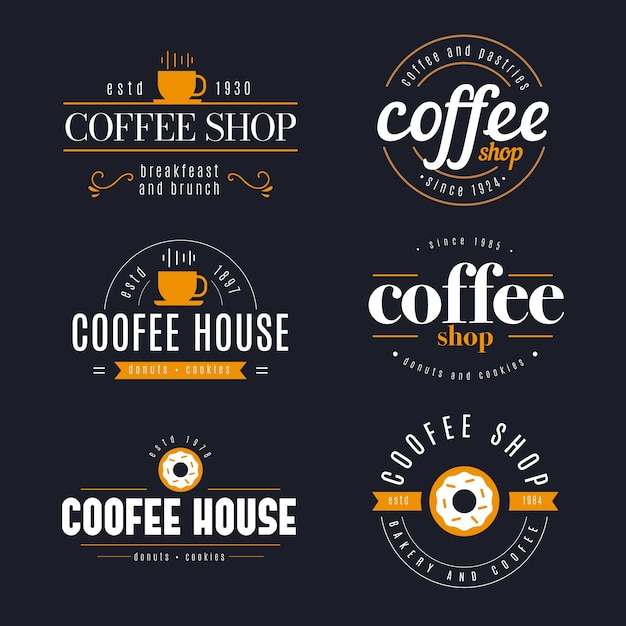 Collection de logo rétro coffee shop Vecteur gratuit