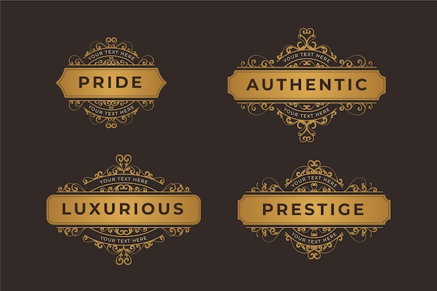 Collection de logo rétro de luxe Vecteur gratuit