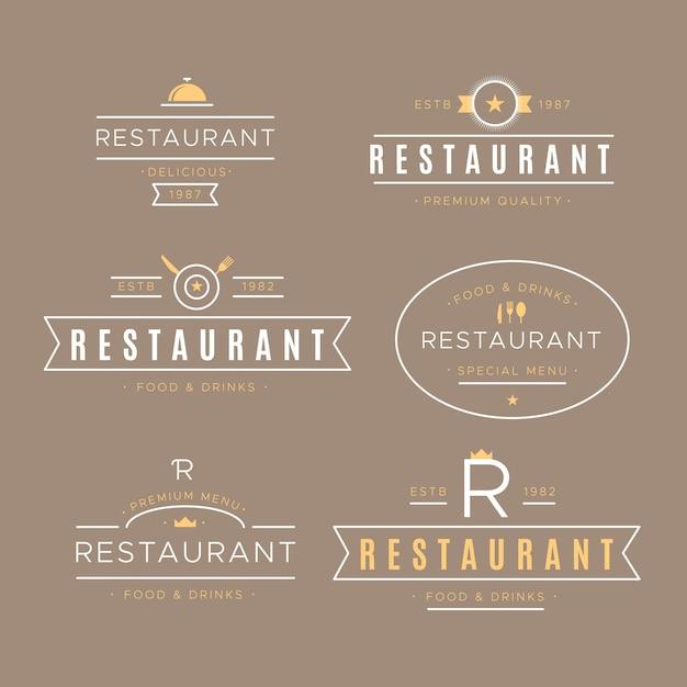 Collection De Logo Rétro De Restaurant Vecteur gratuit