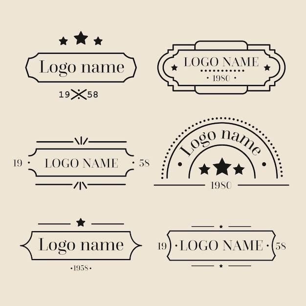 Collection De Logo Rétro Vecteur gratuit