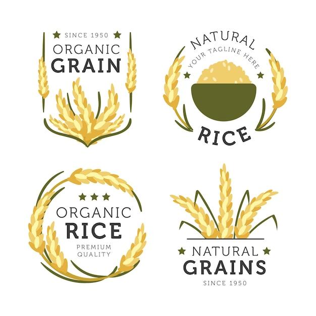Collection De Logo De Riz Naturel Vecteur Premium