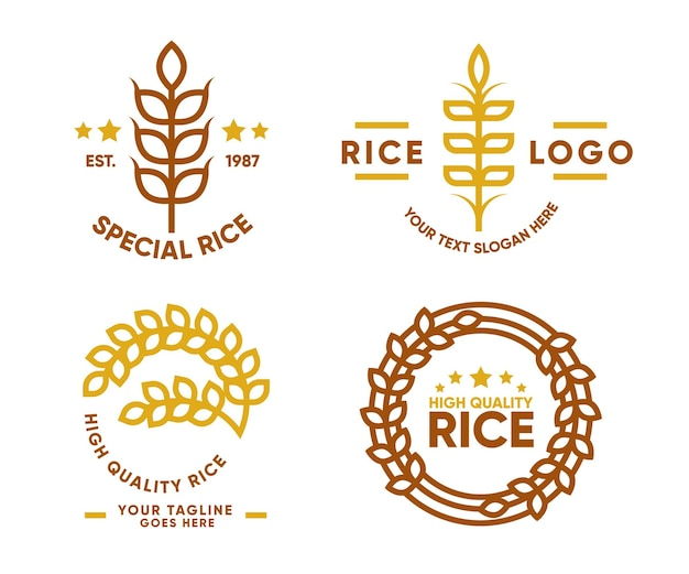 Collection De Logo De Riz Vecteur Premium