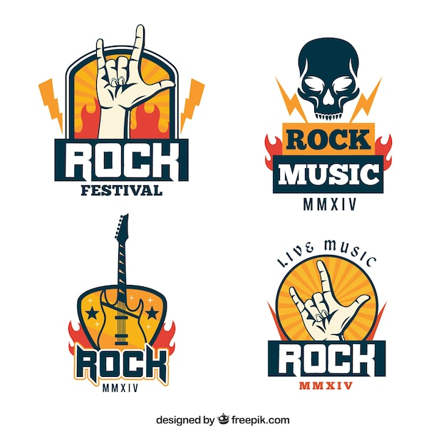 Collection de logo de rock avec un design plat Vecteur gratuit