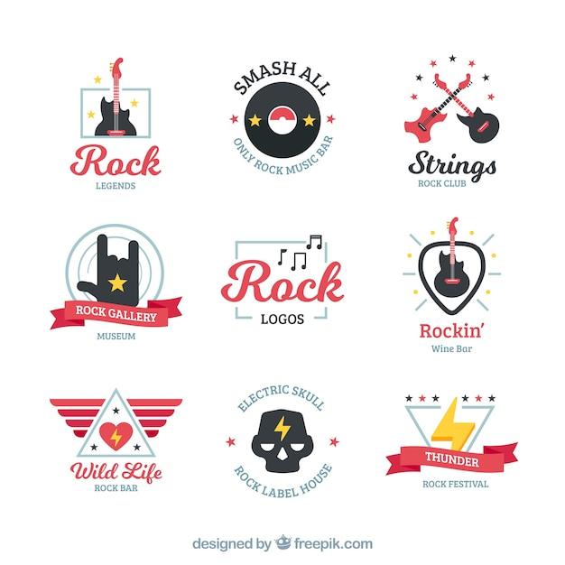 Collection de logo de rock avec un design plat Vecteur gratuit