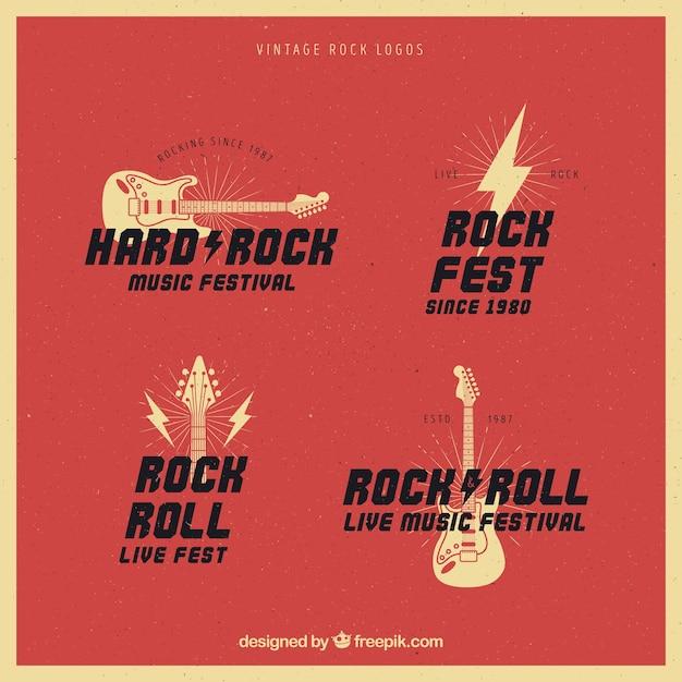 Collection de logo de rock vintage Vecteur gratuit