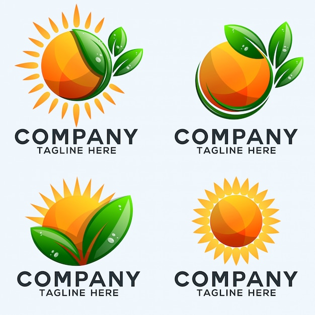 Collection De Logo Soleil Et Feuilles Vecteur Premium