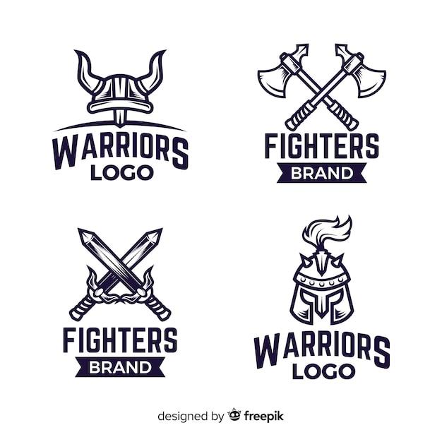 Collection de logo de sport de guerrier moderne Vecteur gratuit