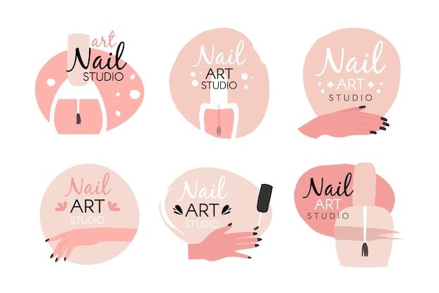 Collection De Logo De Studio D'art D'ongles Vecteur gratuit