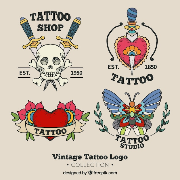 Collection de logo de studio de tatouage old school Vecteur gratuit