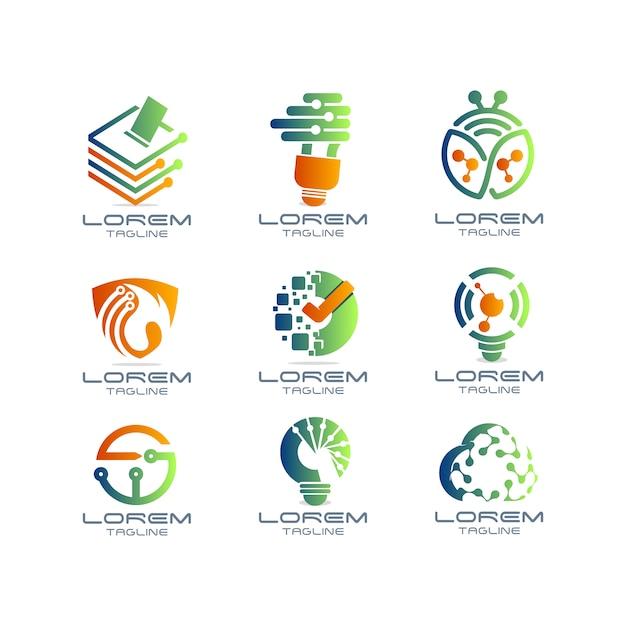 Collection de logo technologique Vecteur gratuit