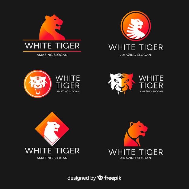 Collection de logo de tigre blanc Vecteur gratuit
